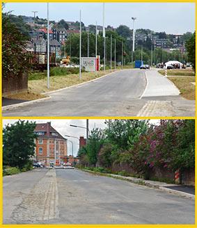Auch optisch ein Provisorium: Der Übergang von der alten zur neuen Ladestraße