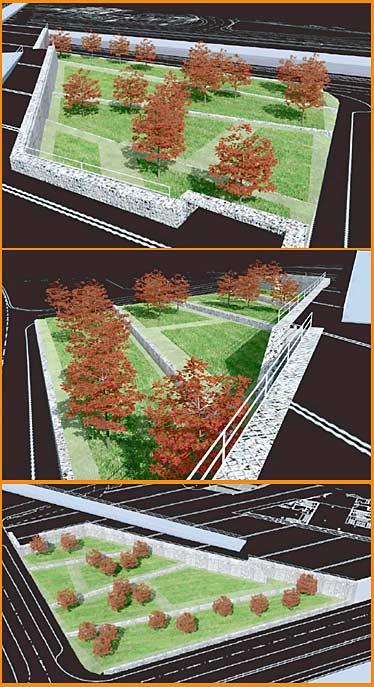 Der Plan des 'Bahnhofsgartens', in der oberen Skizze aus Richtung Stadtmitte, in der Mitte vom neuen Bahnhofsgebäude aus  und in der unteren mit Blick auf den Südsteg.