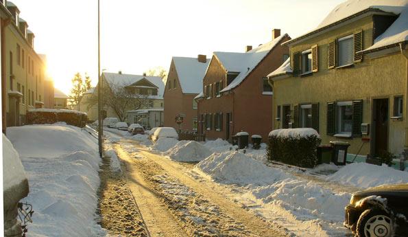 Die Bernhardstraße in Kremenholl im Winter 2010. Foto: Harald Neumann.