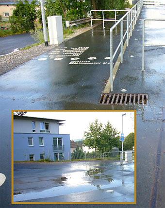 Das Regenwasser läuft überall hin, nur nicht in den Gully