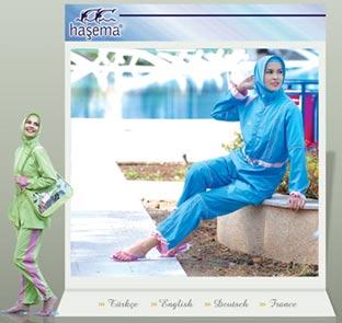 Die Startseite der türkischen Modefirma Hasema im Internet wirbt für muslimische Badeanzüge.