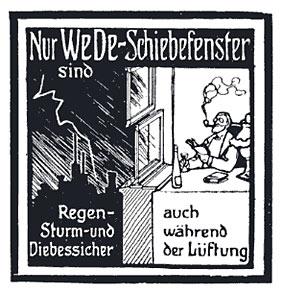 Für ihre Schiebefenster hatte Wender & Dürholt ein Reichspatent. Bild: damalige Firmenwerbung