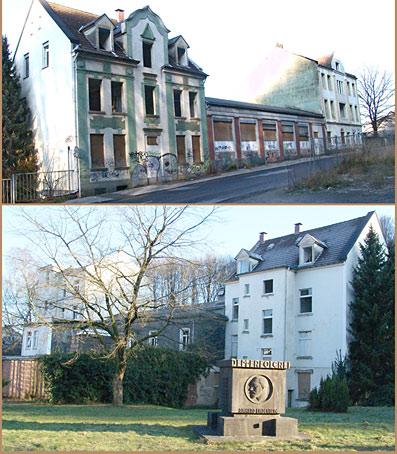 Das Lindenberg-Denkmal mit Bauruine als Hintergrund. Foto: Lothar Kaiser
