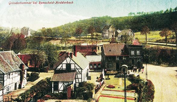 Historisches Foto der Ortschaft Gründerhammer im Morsbachtal.  Sammlung: Rudi Renel