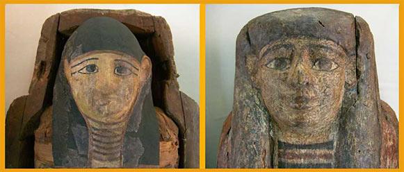 Rechts der bemalte Sargdeckel, links die Mumie mit Kopfbedeckung. Foto: Lothar Kaiser