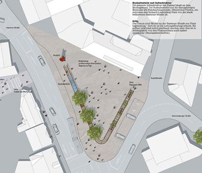 Ein Metallband schirmt in diesem Plan den Richard-Lindenberg-Platz in Hasten von den umliegenden Straßen ab.