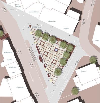 In diesem Entwurf fällt mehr Grün auf; dafür fehlen Parkplätze.