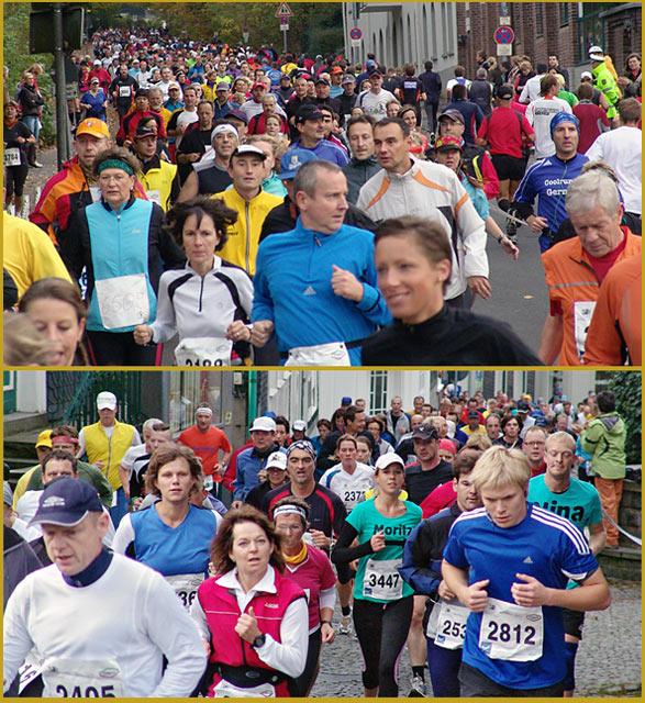 Läuferinnen und Läufer auf der Schwelmer und auf der Kölner Straße heute morgen gegen 8.40 Uhr.  Fotos: Lothar Kaiser