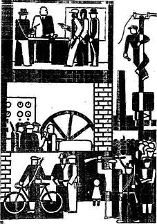 Fabrikbesetzung: Gerd Arntz bekannt sich nach dem Ersten Weltkrieg öffentlich zum Rätesozialismus. Abbildung: HIZ Remscheid