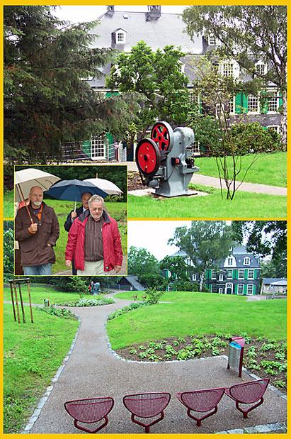 Einweihung des kleinen Parks oberhalb des Deutschen Werkzeugmuseums heute Nachmittag bei strömendem Regen.
